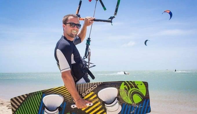 Man Preparing For Kitesurfing