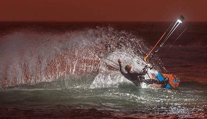 Man On Night Kitesurfing