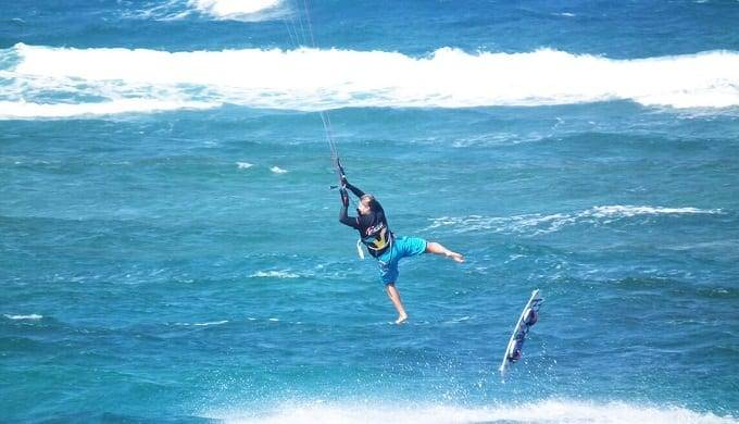 Man Taken By Wind On Kitesurfing