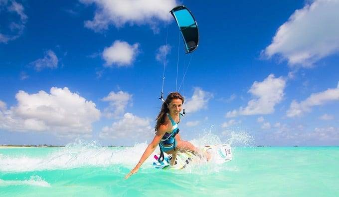 Woman Kitesurfing