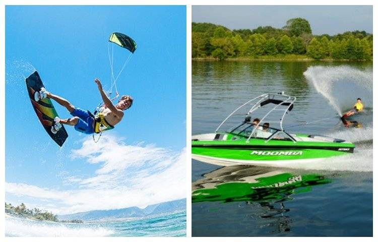 main difference between wakeboarding and kitesurfing