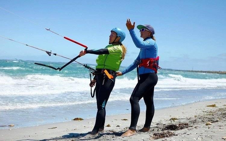 kitesurfer with instructor