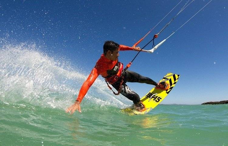 kitesurfing with wetsuit