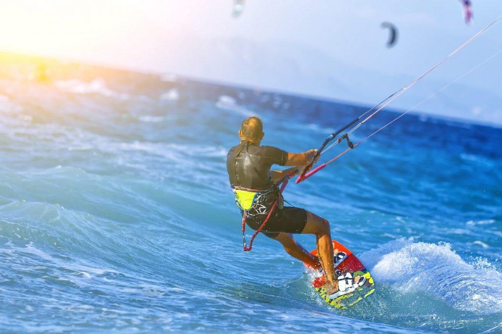 kitesurfing man in the ocean