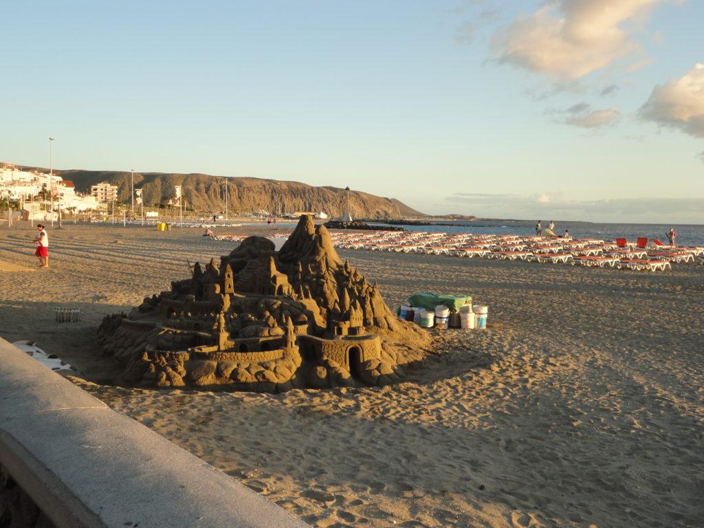 A sand castle on the beach