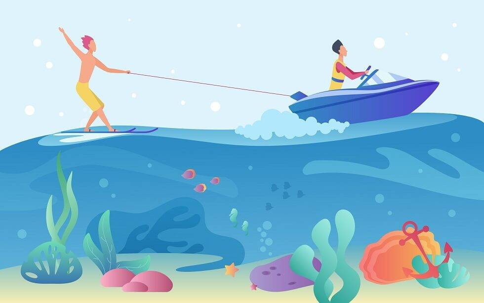 what is wakeboarding illustration